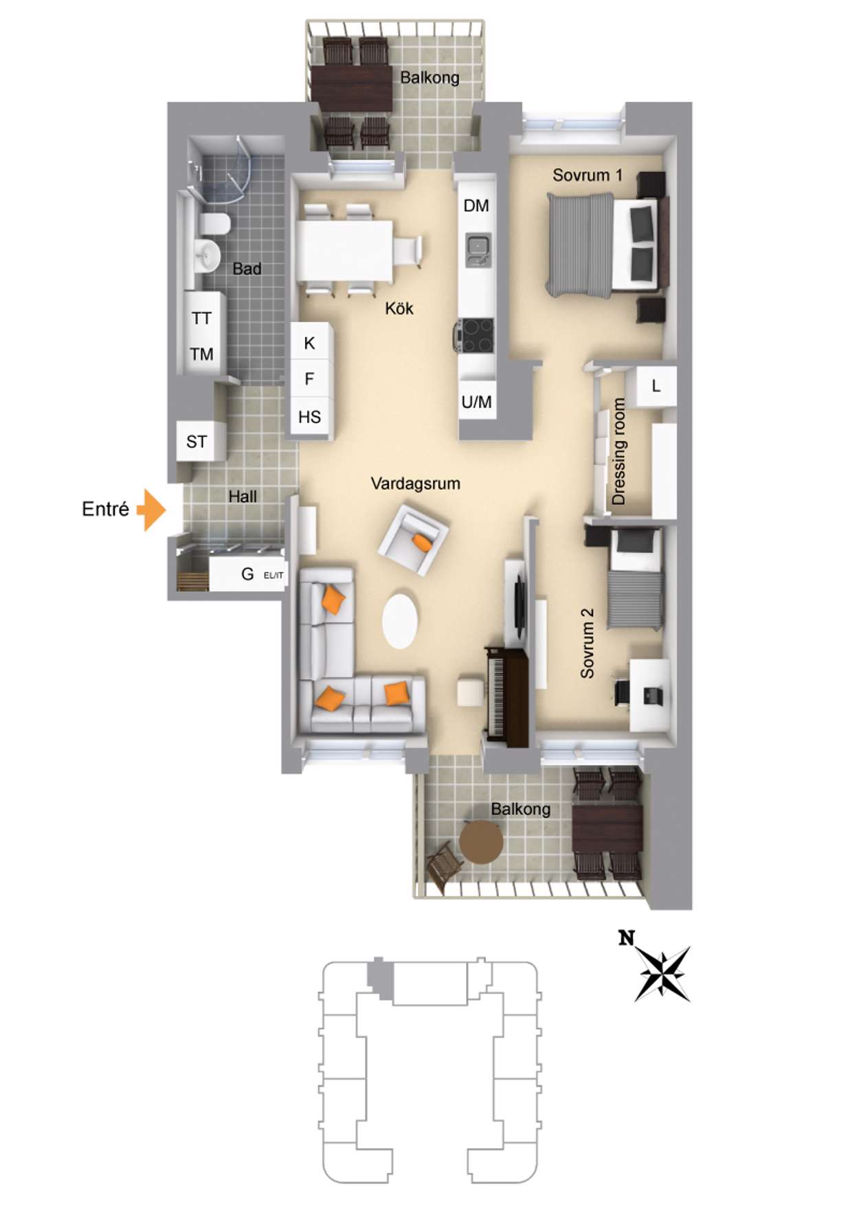 Industrigatan 23, markerad läge i huset