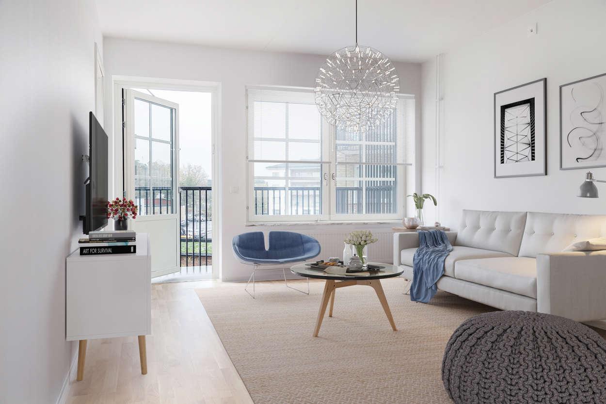 Vardagsrummet med balkongen