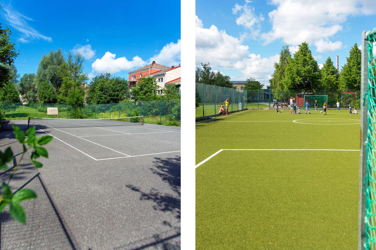 Fotbollsplan och tennisbana i området