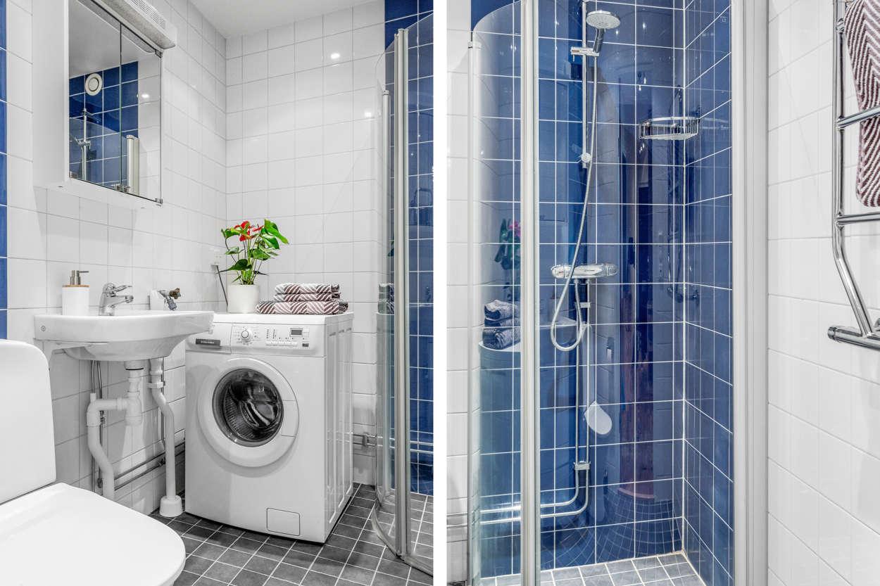 Snyggt, helkaklat badrum med tvättmaskin