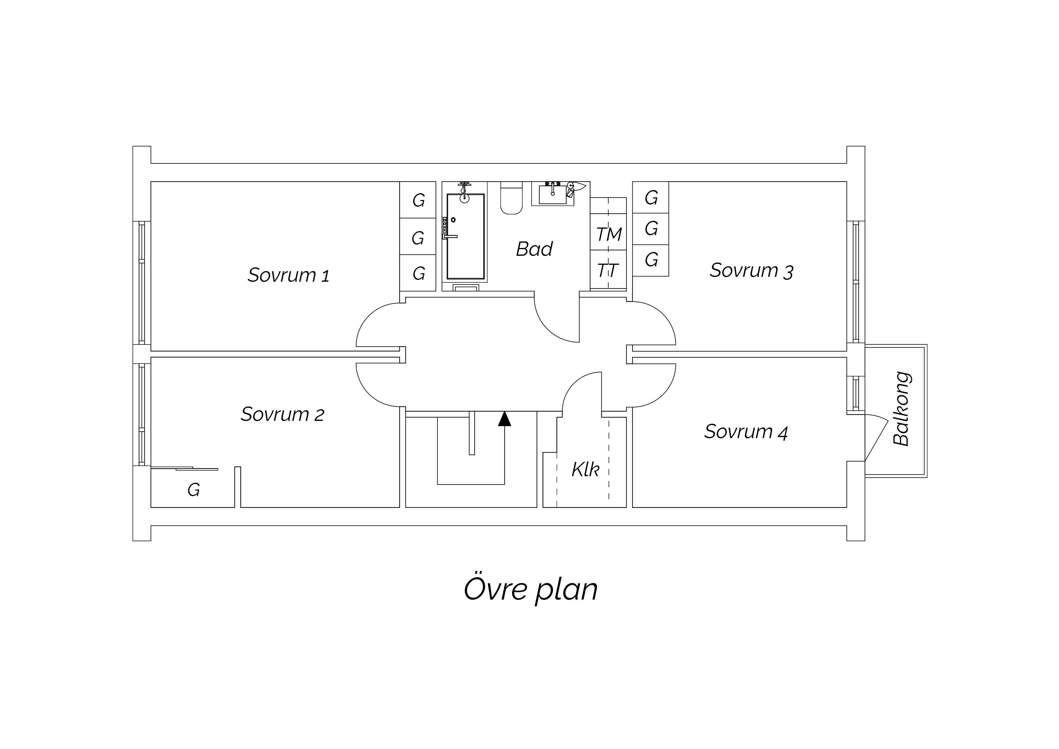 Planritning övre plan