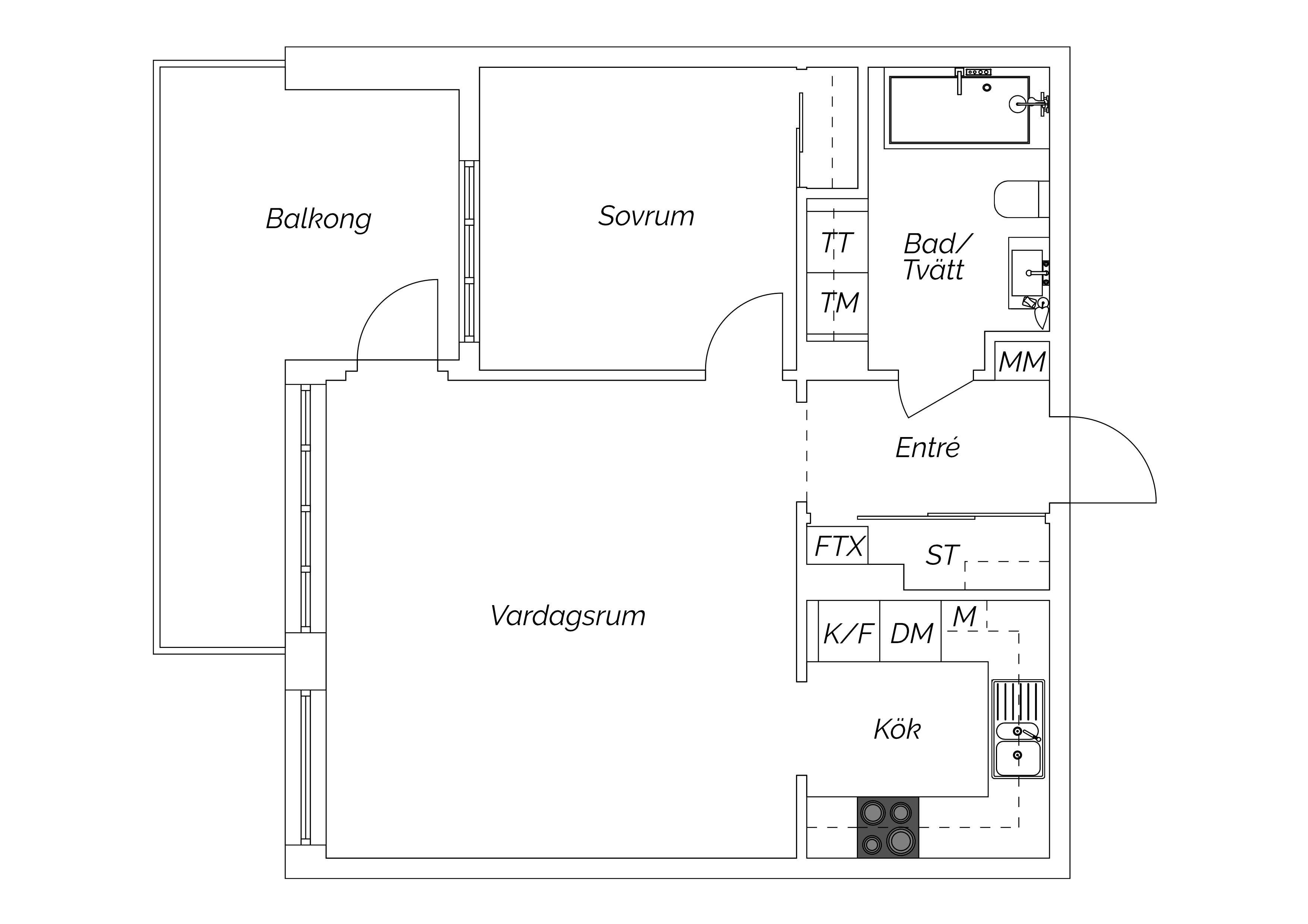 Planskiss Sankt Johannesgatan 3E