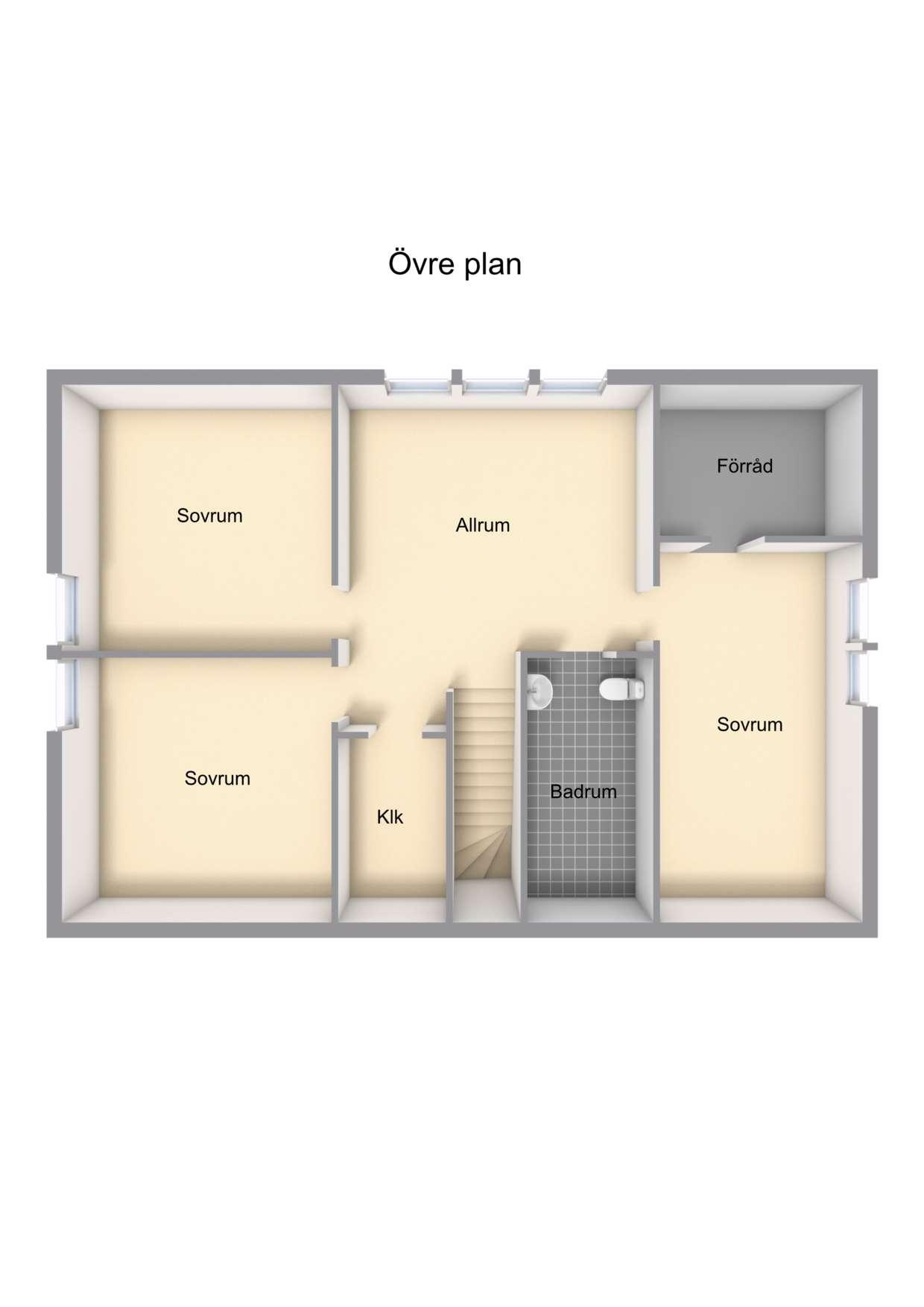 Förslag till planlösning övre plan
