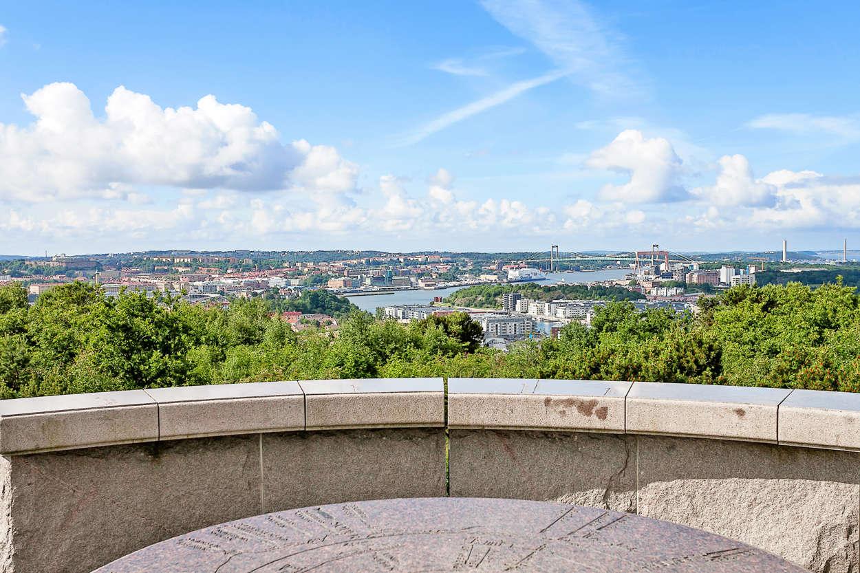 Milsvid utsikt över Göteborg från Rambergstoppen