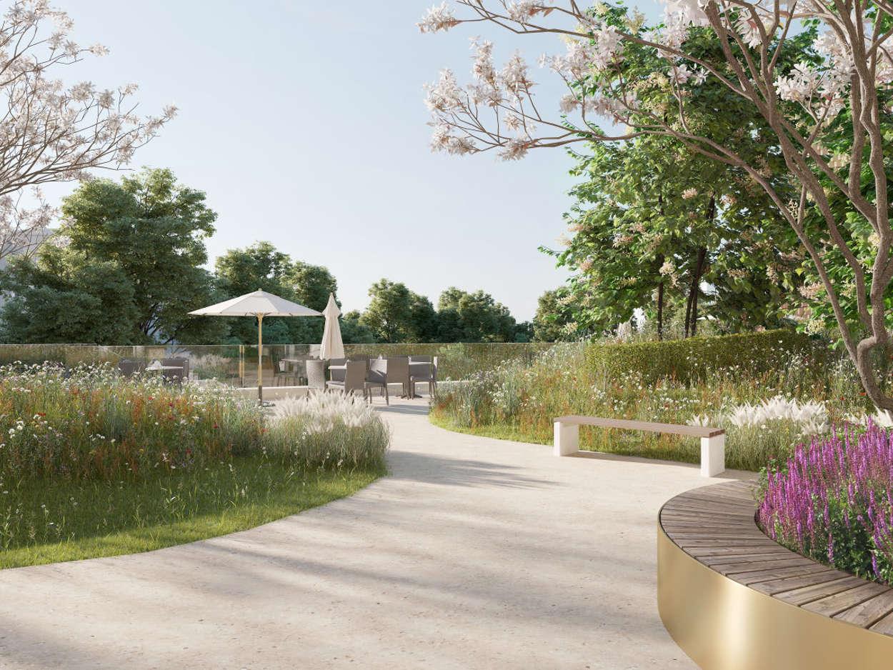 Upphöjd trädgård, söderläge mot Blå parken