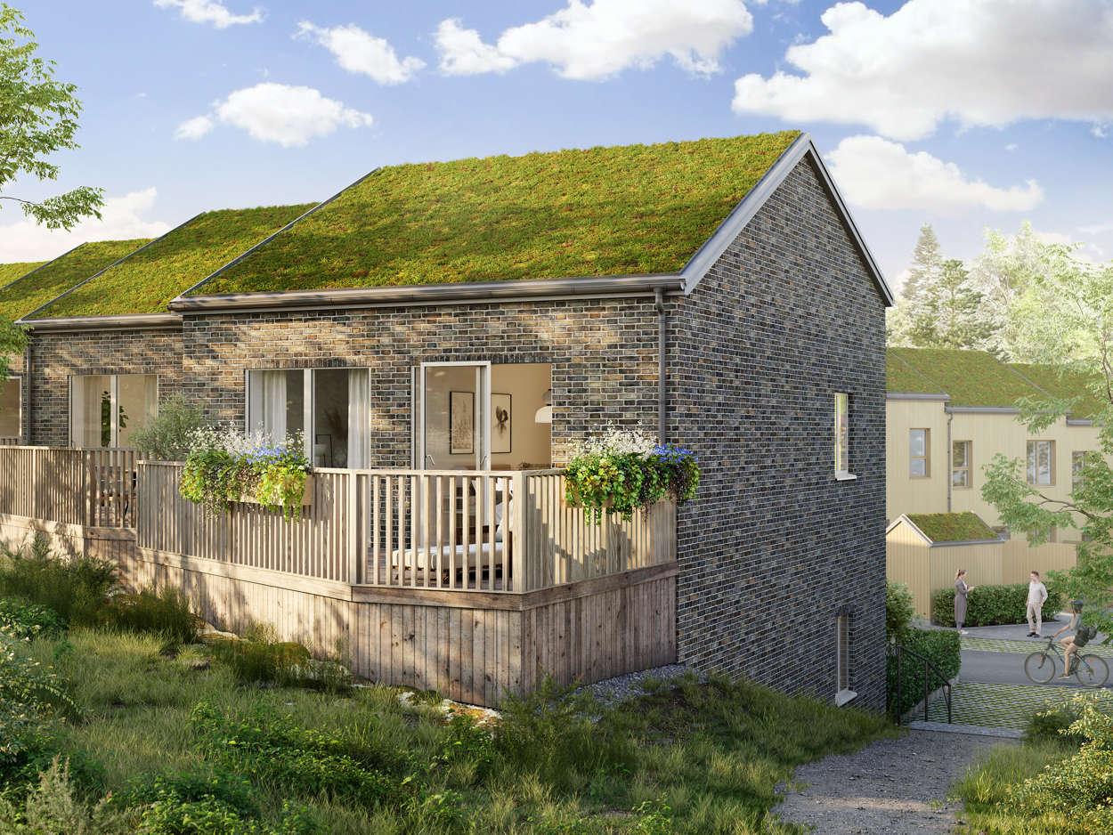 Hus B Terrass mot baksida och skogsdunge