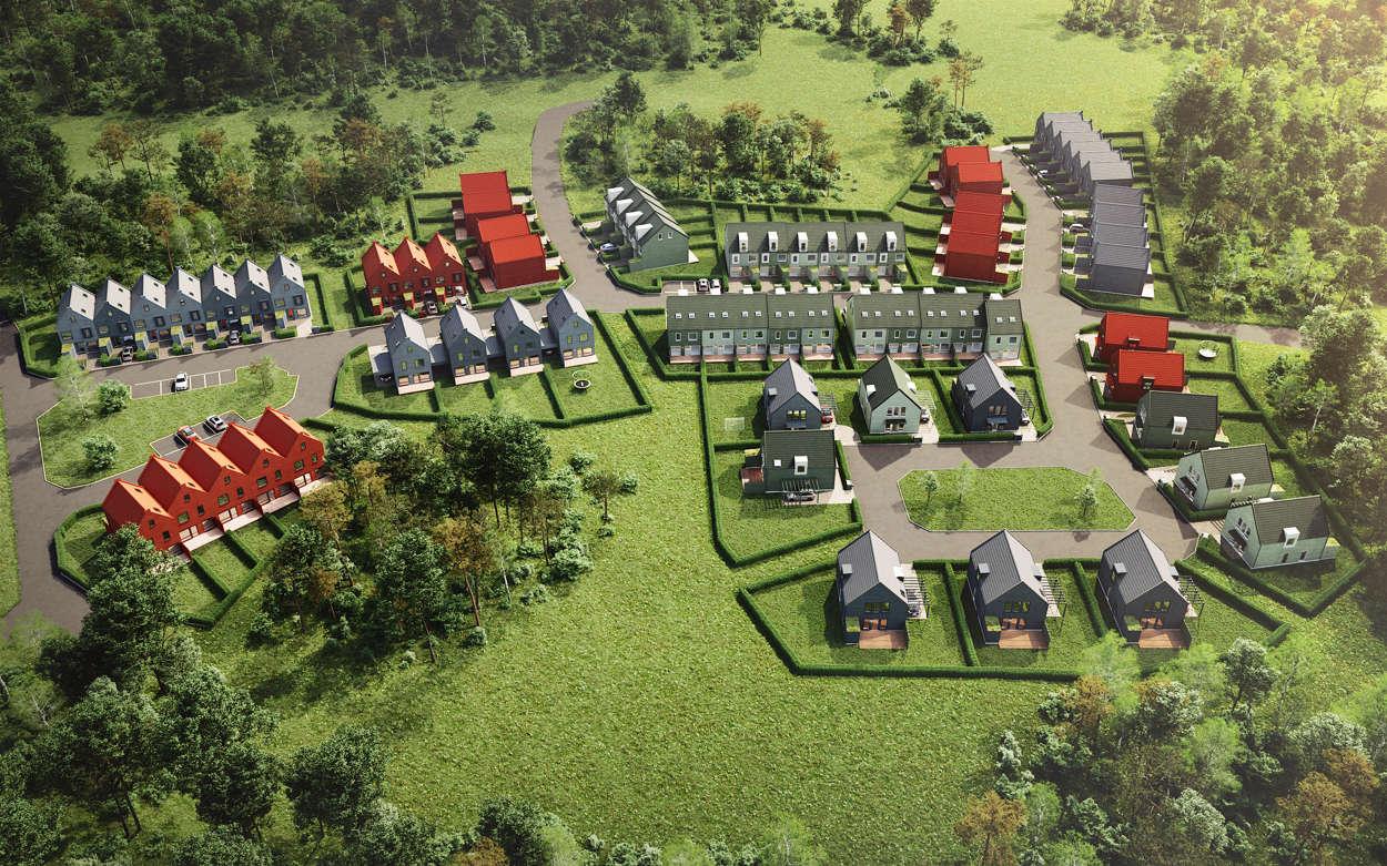 Översiktsbild av alla bostäderna i Wijk Oppgård Trädgårdsstad.