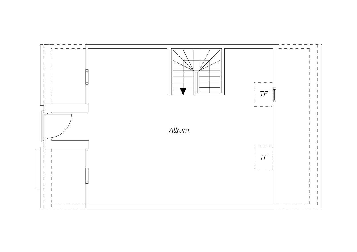 Vindsvåning bostadsrättsradhus i Brf 2 med takkupa (G2)