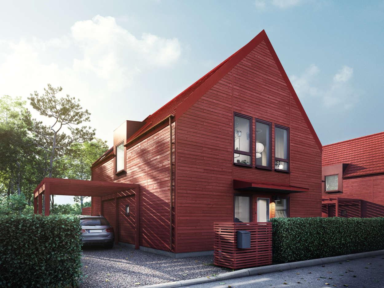 Villa fasad röd