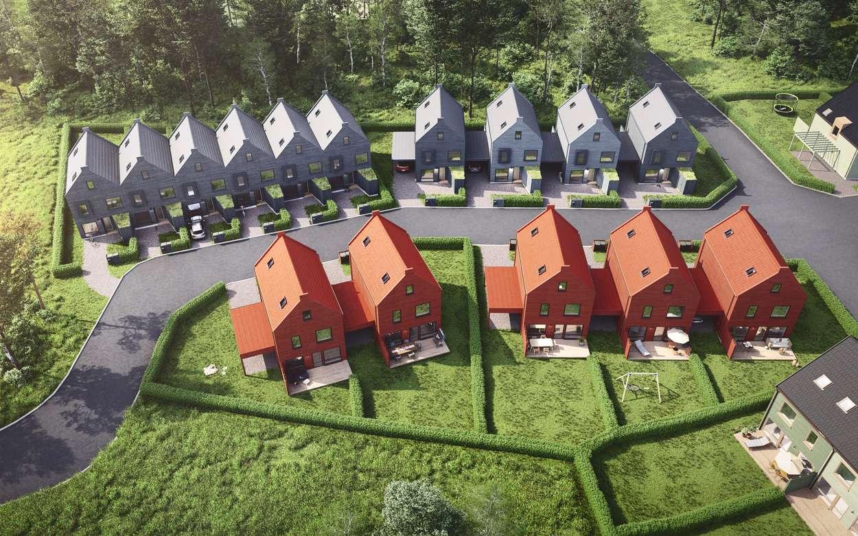 Översikt över radhusen och kedjehusen med äganderätt i etapp 2.