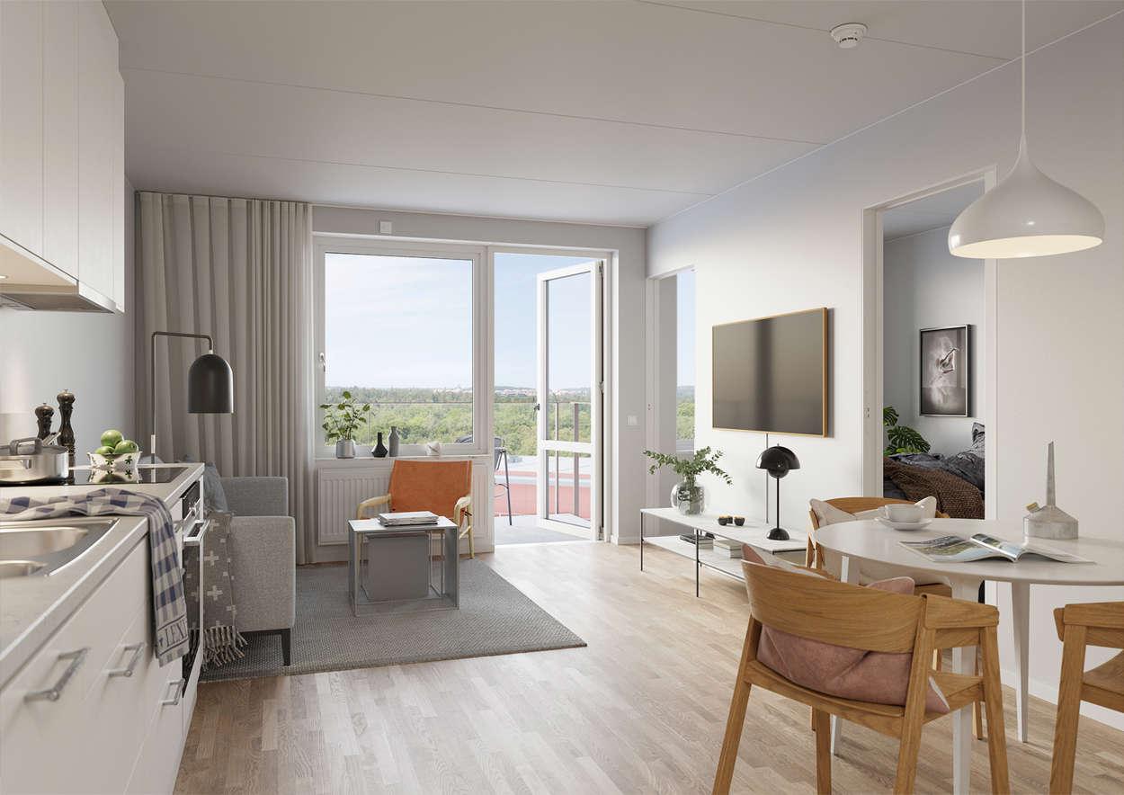 Öppen planlösning med balkong och fri utsikt