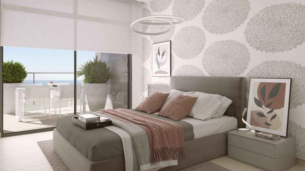 Master sovrum med direkt utgång till terrass eller balkong
