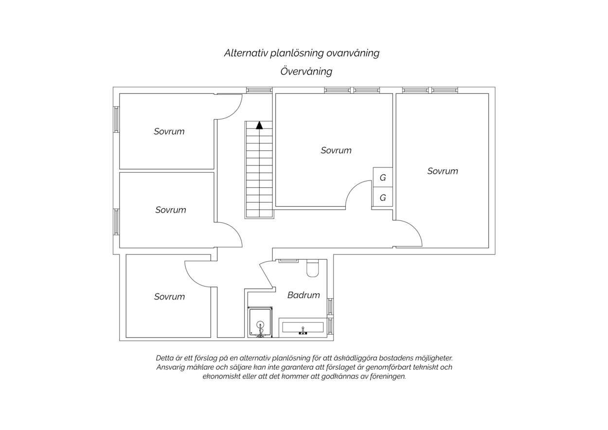 Alternativ planritning ovanvåning