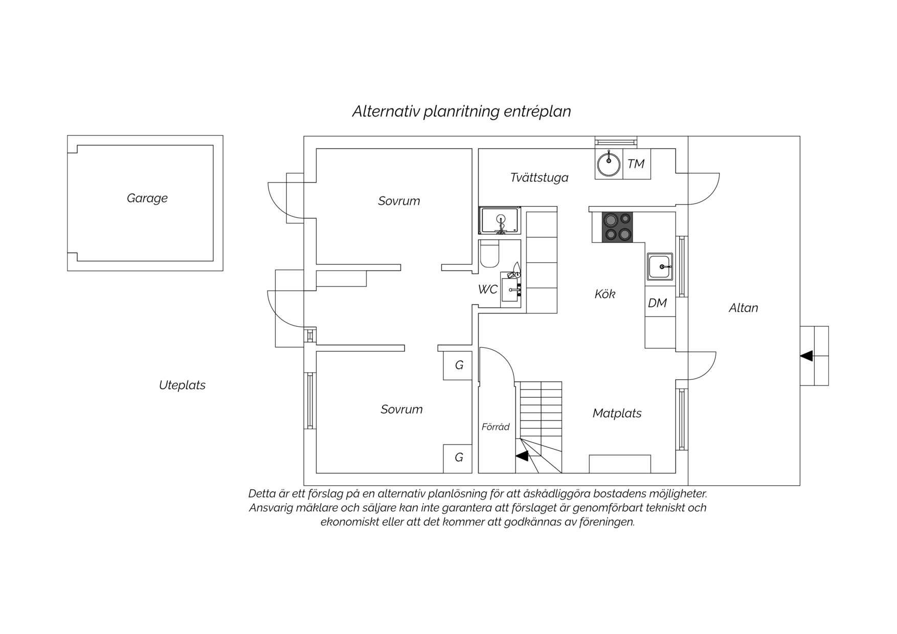 Alternativ planritning Entréplan