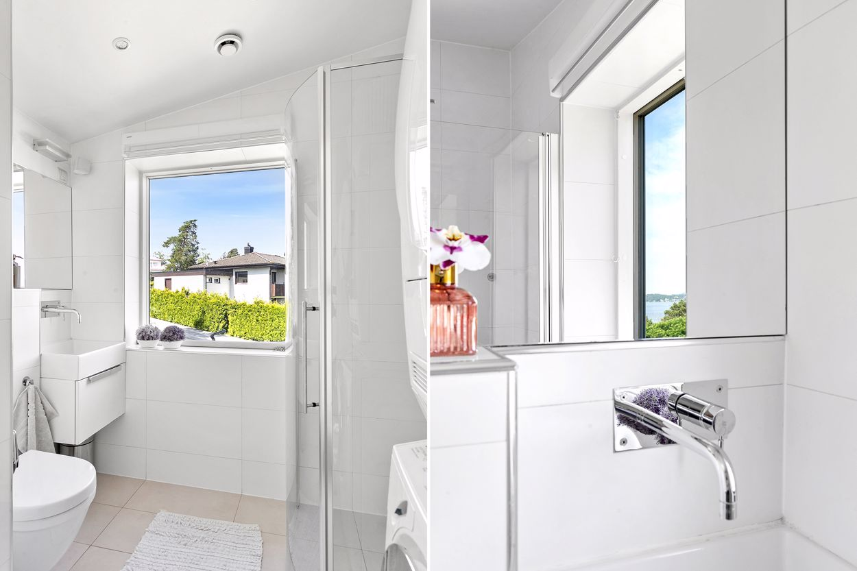 Badrum med tvättpelare - Övre plan