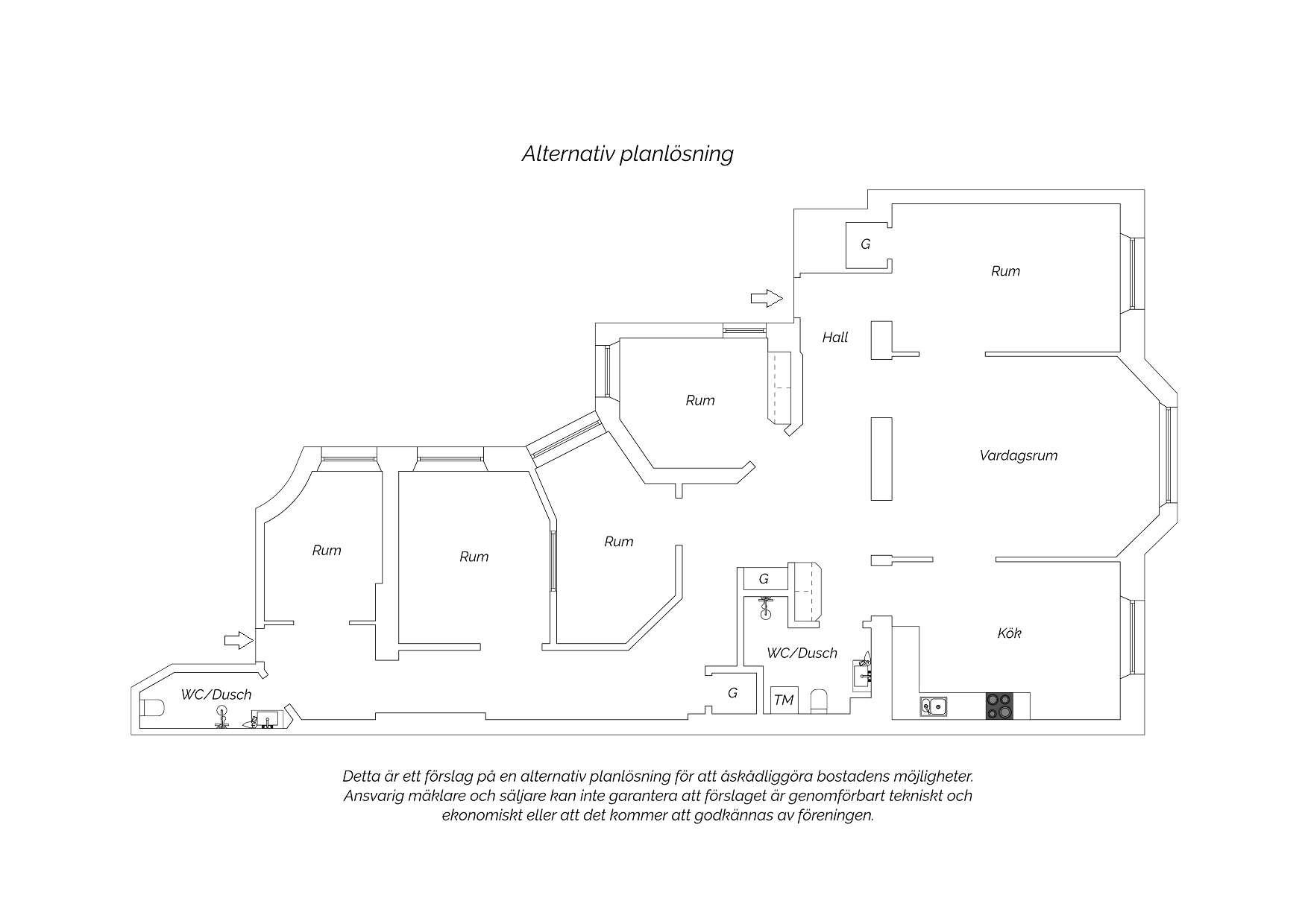 Planskiss (Förslag - flytt av kök alt 2).