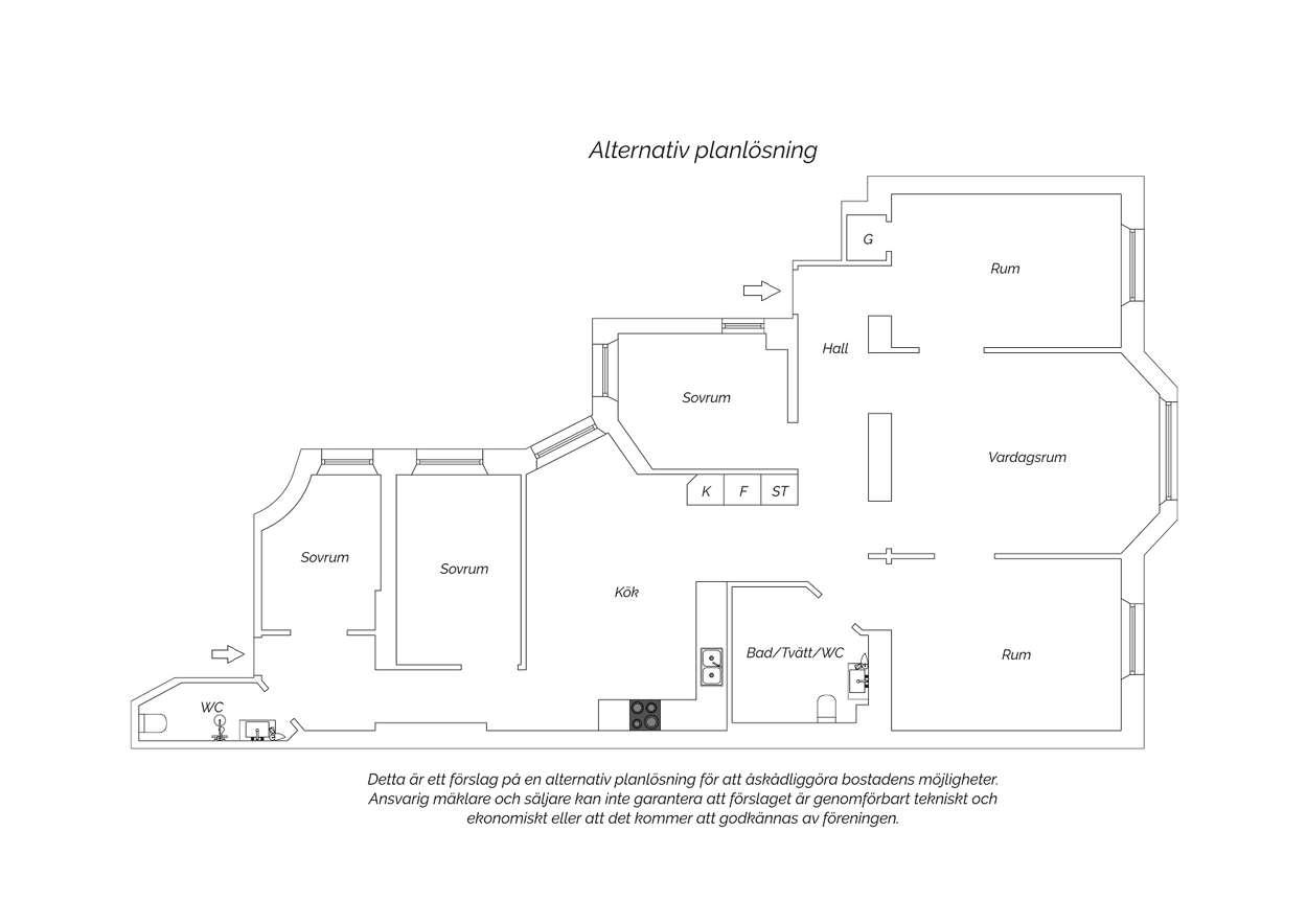 Planskiss (Förslag - flytt av kök alt 1).